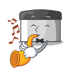 with trumpet pastry scraper on wooden mascot table vector image