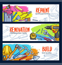 Work tools home repair sketch banners vector