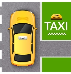 Yellow taxi cab top view banner vector