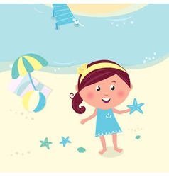happy smiling girl on beach vector image vector image