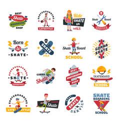 Skateboarders people tricks silhouettes sport logo vector