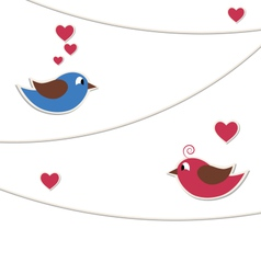 Two lovely birds with strings of buntings isolated vector image