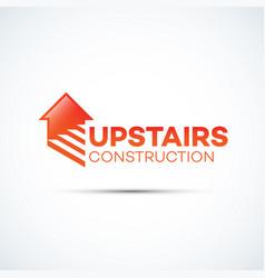 upstairs construction logo vector image