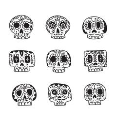cute ethnic Mexican sugar skulls icons vector image