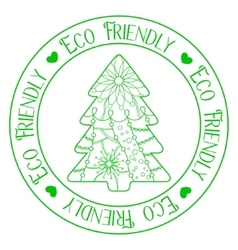 Eco friendly stamp with tree vector image vector image