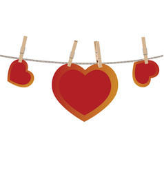 heart on rope vector image vector image