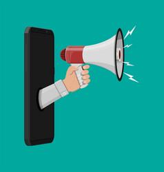 loudspeaker or megaphone smartphone vector image vector image