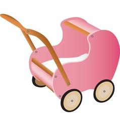 Pink wooden toy pram vector image