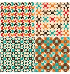 set retro seamless geometric patterns vector image