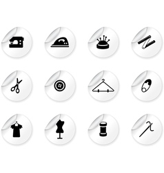 Stickers with sewing symbols vector image vector image