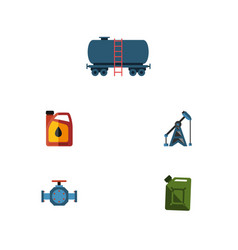 flat icon fuel set of container jerrycan fuel vector image vector image