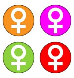 Gender female symbol buttons set vector image vector image