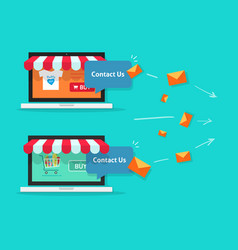 online store and customer communication internet vector image