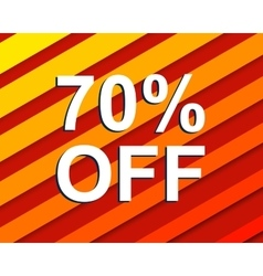 Red striped sale poster with 70 percent off text vector