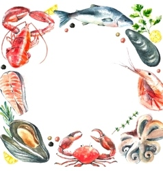 Set of seafood watercolor vector