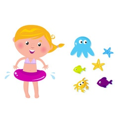 swimmer girl ocean icons vector image vector image