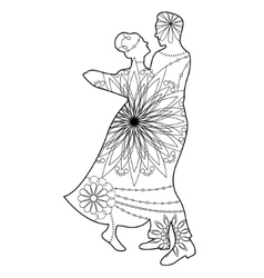 Waltz silhouette coloring vector image vector image