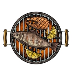 Barbecue grill top view with charcoal fish steak vector