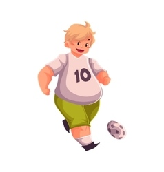 Fat boy playing football getting fit active vector