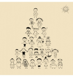 pyramid with happy big family vector image vector image