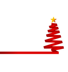 red christmas tree made from ribbon vector image vector image