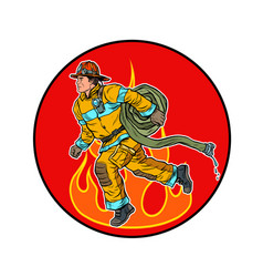A firefighter is extinguishing flames vector