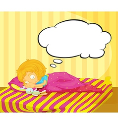A young girl dreaming vector image