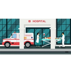Ambulances took injured vector