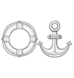 anchor and lifebuoy hand drawn sketch vector image