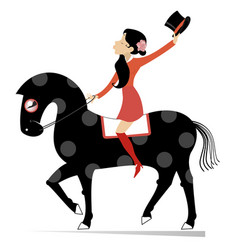 Attractive young woman rides on horse vector