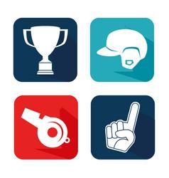 baseball sport set icons vector image