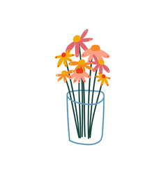 Beautiful spring or summer flowers in glass vase vector