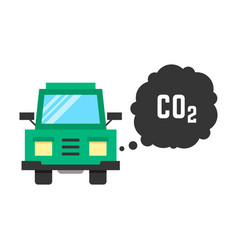 big green truck emits carbon dioxide vector image