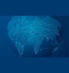 blue dot globe world map for technology concept vector image