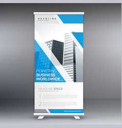 Blue roll up business banner flyer design vector