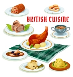 British cuisine cartoon icon for restaurant design vector
