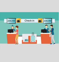 business people checking in counter airplane vector image