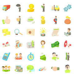business target icons set cartoon style vector image