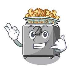 Call me deep fryer machine isolated on mascot vector