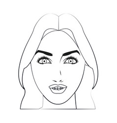 character face woman beauty attractive line vector image
