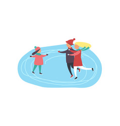 children skating on ice rink winter sport activity vector image