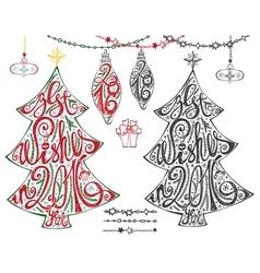 christmas treeletteringballsgarlands vector image
