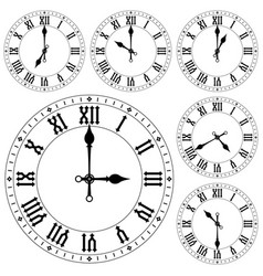 clock with roman numerals set vector image
