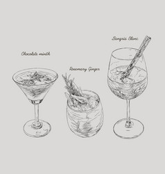 Cocktails - set of hand-drawn drinks chocolate vector