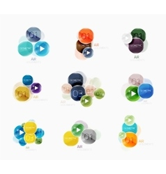 Collection of circle web boxes vector image