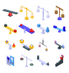 Comparison icons set isometric style vector