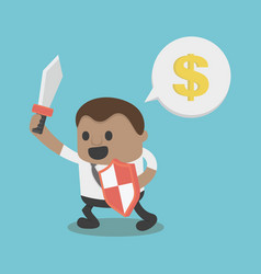 Concept african businessman hold sword and shield vector