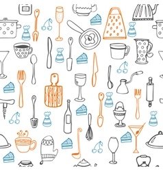 Cute seamless pattern with kitchen equipments vector image