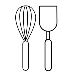 Cutlery bake icon outline style vector
