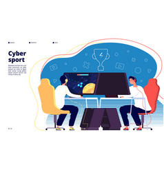 Cyber sport landing page esport pro gamers team vector